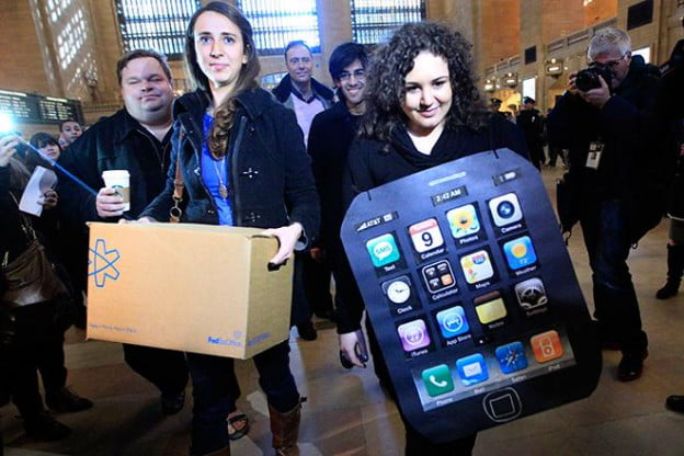 apple protest New York City Grand Central store costume