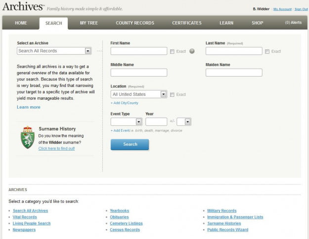 Archives Ancestry Search