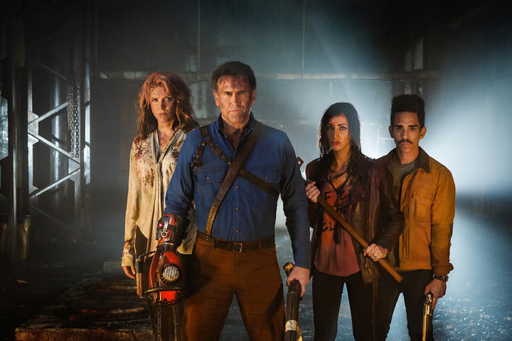 bruce campbell on lee majors and man cleavage in ash vs evil dead  season interview