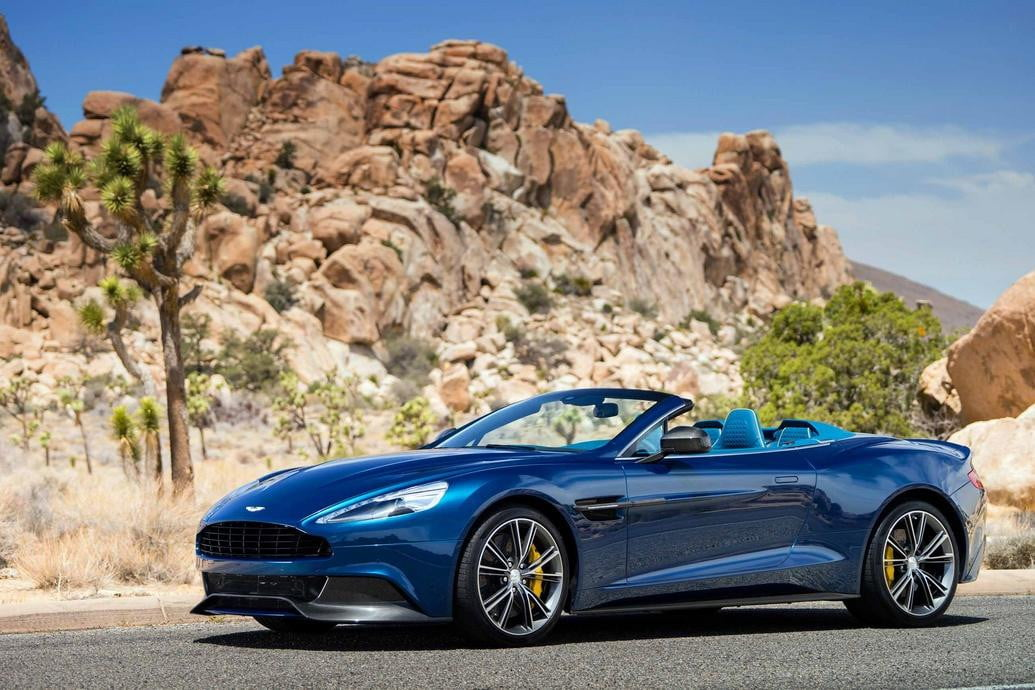 2014 Aston Martin Vanquish Volante front three quarter desert background