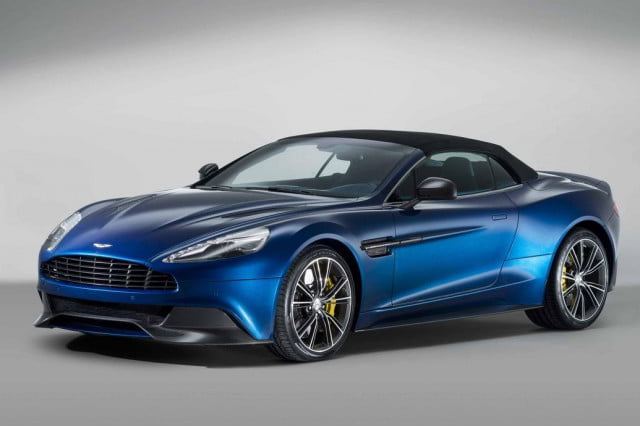 aston martin takes shot at hybrids plans on sticking with v  engines unveils vanquish volante convertible and it s a stunner