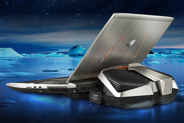 asus republic of gamers gx  laptop gtx sli external liquid cooling dock rog