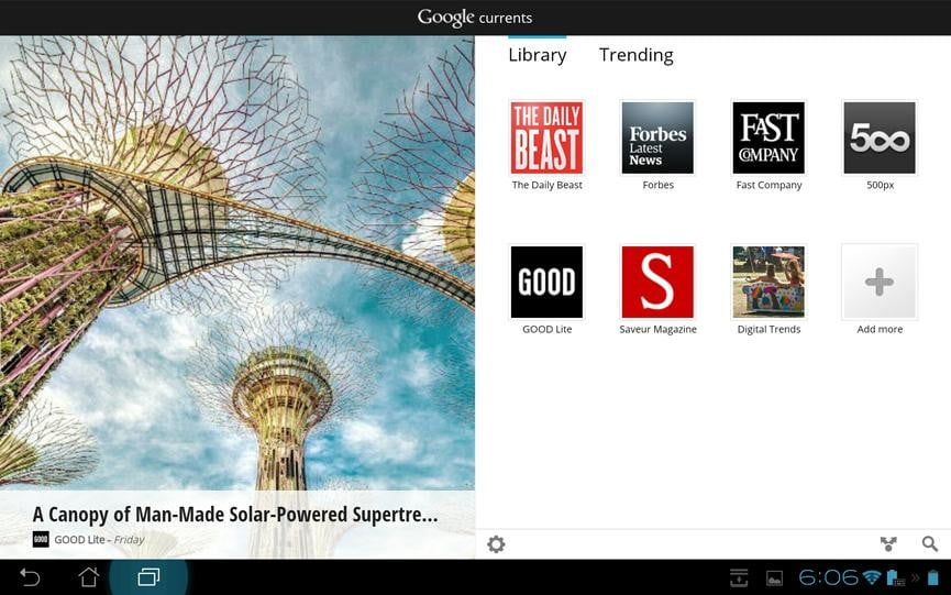 Asus transformer pad infinity review screenshot google currents google android tablet magazine