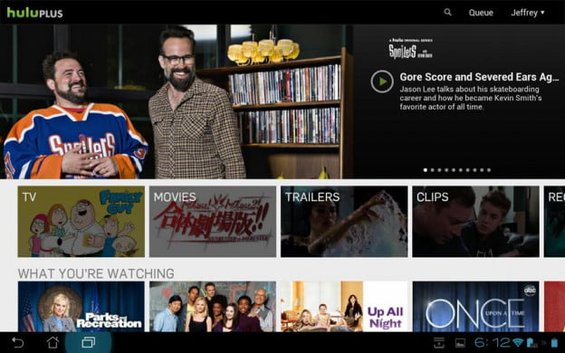 Asus transformer pad infinity review screenshot hulu plus google android tablet