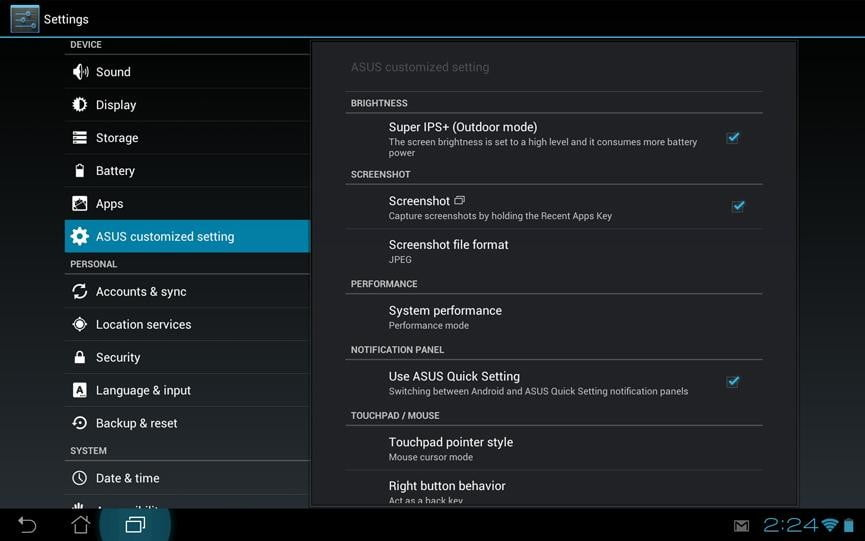 Asus transformer pad infinity review screenshot settings google android tablet settings screen