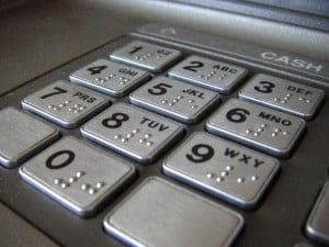 ATM number pad close up shot