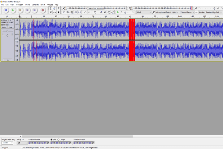 audacity screen