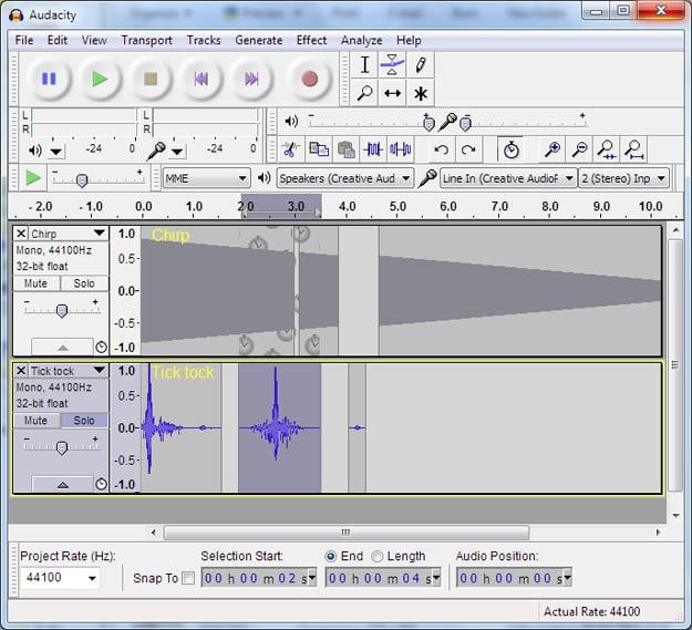 Audacity digital audio workstation screen