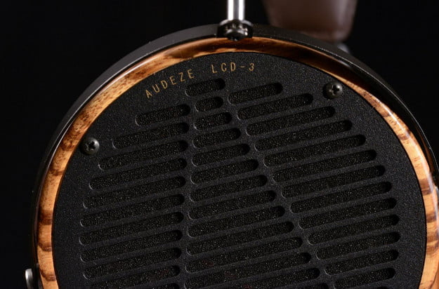 audeze lcd3 professional reference headphone zebrano wood enclosure macro
