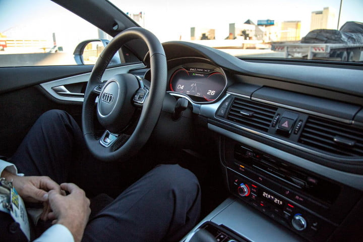 test driving audis a  autonomous car at ces audi hands free