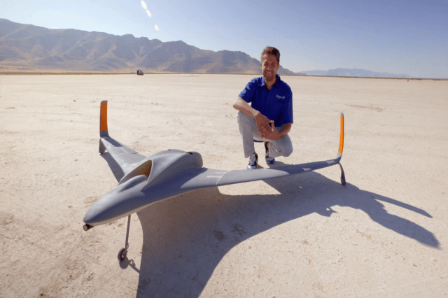 Aurora Flight Science engineer Dan Campbell and the 3D-printed drone