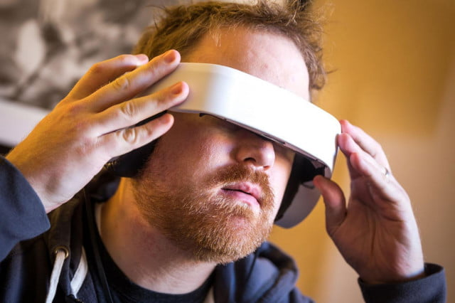avegants glyph headset smashes  k kickstarter goal just four hours avegant on a dude s face