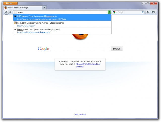 Firefox 4 (Awesome Bar)