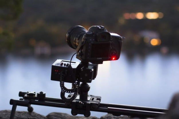 A Canon EOS DSLR with an Axis360 configured for pan, tilt, and slide.