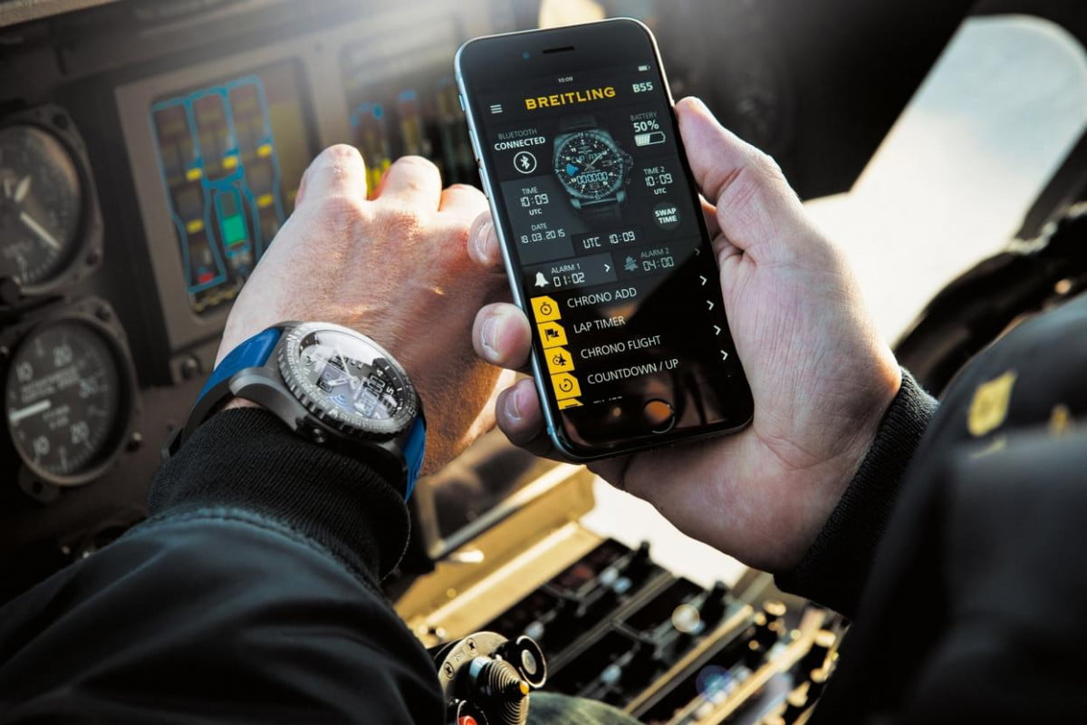the manual wind breitling b  connective smart watch connected