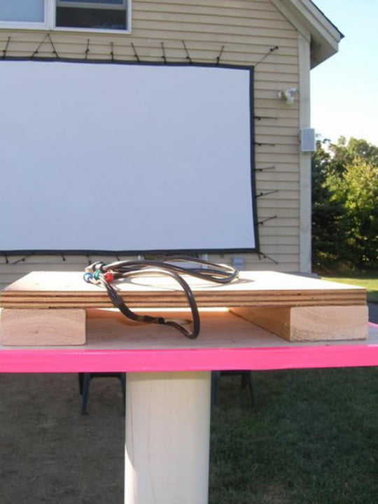 amaze your friends and annoy neighbors with own backyard theater projector pvc stand