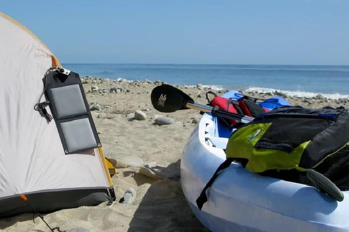 Badger solar charger in use