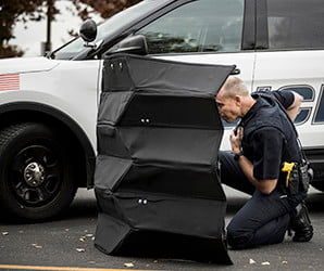 BYU's origami-inspired Kevlar shield pops up in seconds to block bullets