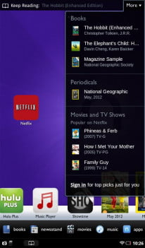 The Nook Tablet has several preinstalled apps from some major content providers.
