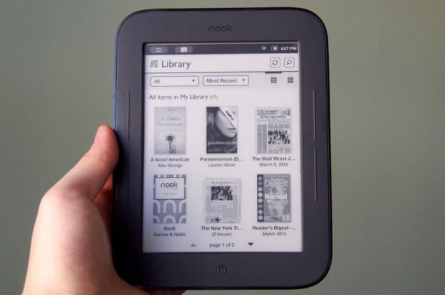 Barnes Noble Nook Simple Touch with GlowLight library