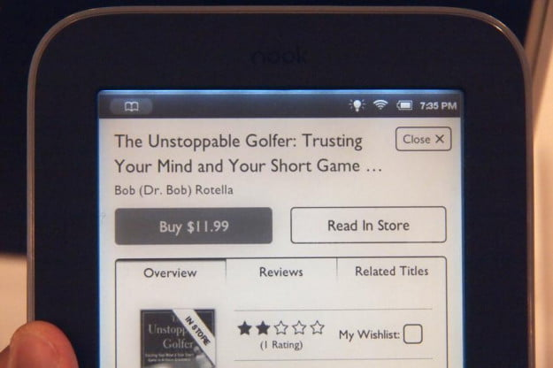 Barnes Noble Nook Simple Touch with GlowLight screen details