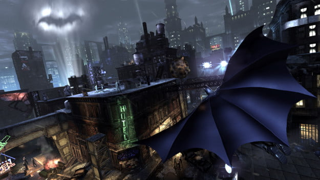 BAtman Arkham City over the city