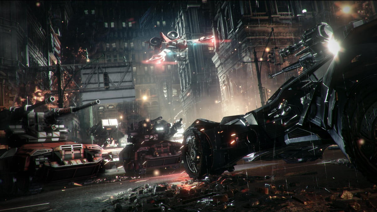 batman arkham knight slips  turns batmobile tank