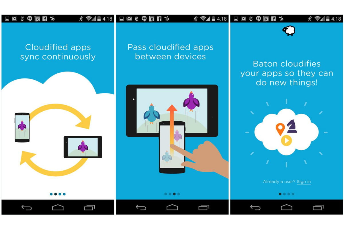 nextbits baton lets pass open app another android device