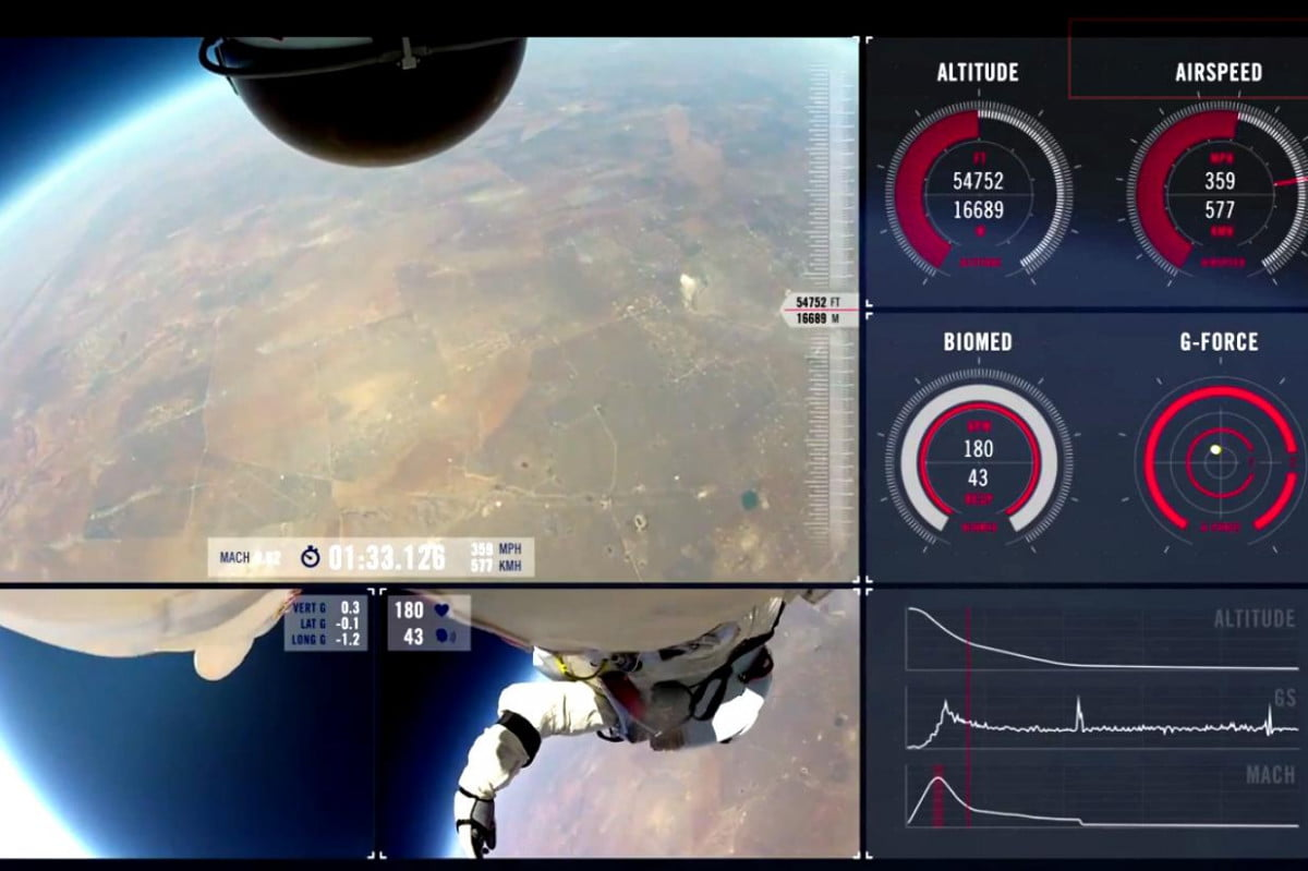 pov video of space jump baumgartner