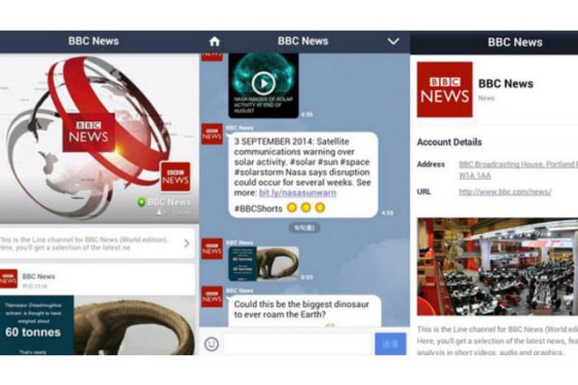 bbc news account line messaging app apps