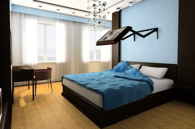 flip tv wall mount cleverly conceals flatscreen bedroom blue open max brit adj