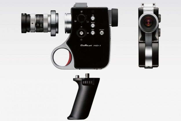 This camera has a removable grip and allows the use of various lenses.