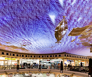 The 1,200 ft projected ceiling in this Berlin mall lets you shop underwater