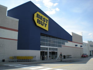 Customer exiting a Best Buy store