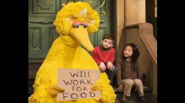 big bird will work for food