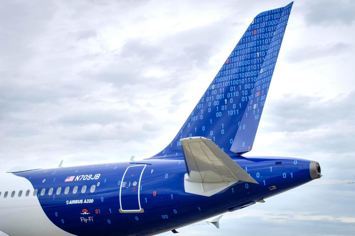 jetblue gets nerdy paints binary code one planes tail fin