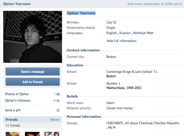 Boston Bomber Facebook