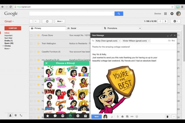 bitmoji leaps out of facebook and smartphones now available as chrome extension gmail