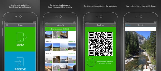 BitTorrent Shoot screenshots on an iPhone. With slight differences, the apps looks and works similarly on Android and Windows Phone.