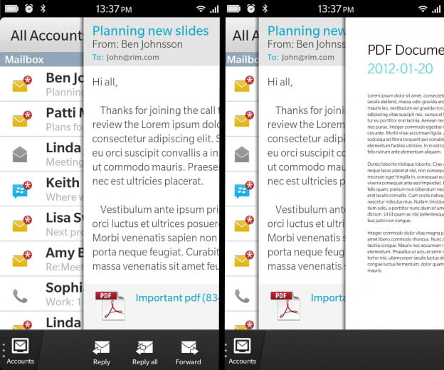 BlackBerry 10 official screenshots of Flow