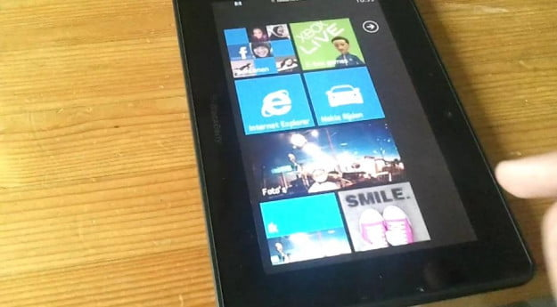 BlackBerry PlayBook running Windows Phone 7