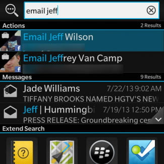 BlackBerry Q10 review screenshot email