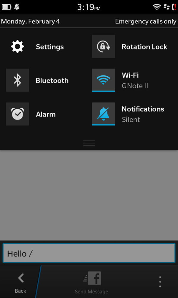Blackberry Z10 review screenshot settings