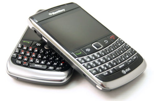 BlackBerry Bold 9700 on top of Curve 8900