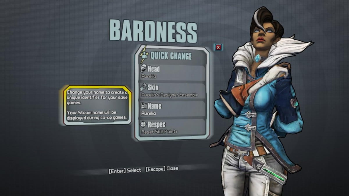 theres add character borderlands pre sequel buried games code aurelia the baroness