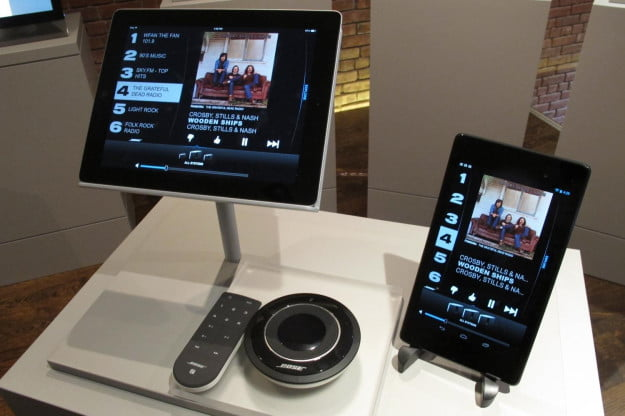 Bose SoundTouch controller options, including (left to right) iOS on iPad, standard remote control, SoundTouch Controller, and Android on Nexus