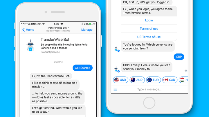 Facebook Messenger bots let you send money with TransferWise