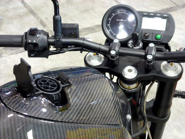 Brammo Empulse electric motorcycle preview plugin electric charging port