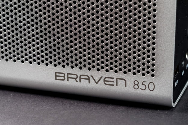 Braven 850 portable bluetooth speaker bottom angle macro