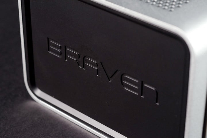 braven  review portable bluetooth speaker logo side angle